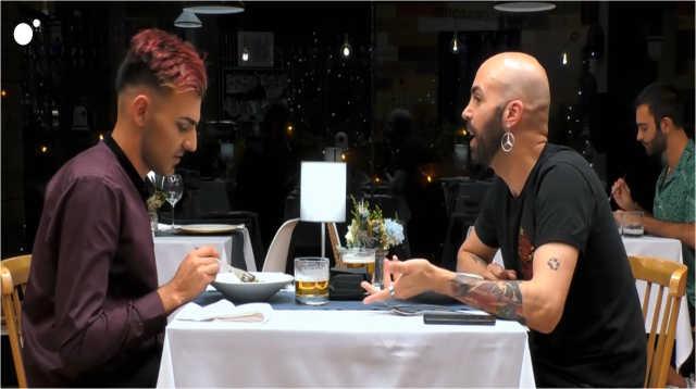 Alberto y Bryan durante su cena en First Dates