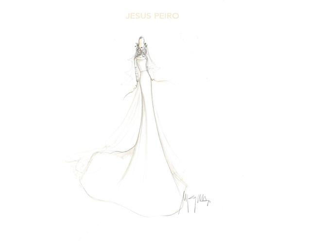 La modelo aposto por el diseñador Jesús Peiro